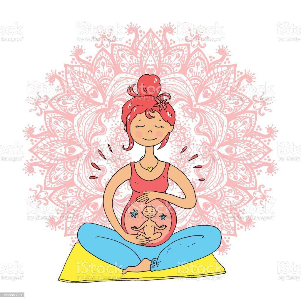Pregnant tanned woman in lotus position against mandala backgrou vector art illustration