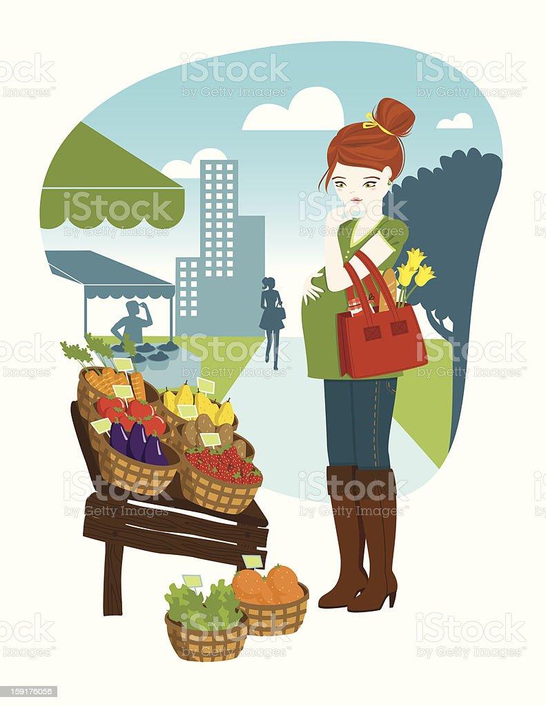Pregnant woman at outdoor market royalty-free stock vector art