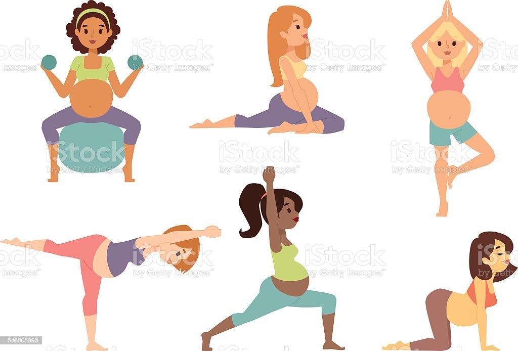 Pregnant woman character vector sport vector art illustration