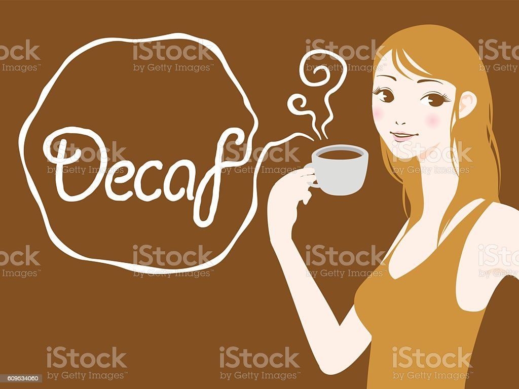 Pregnant woman drinks caffeine free coffee vector art illustration