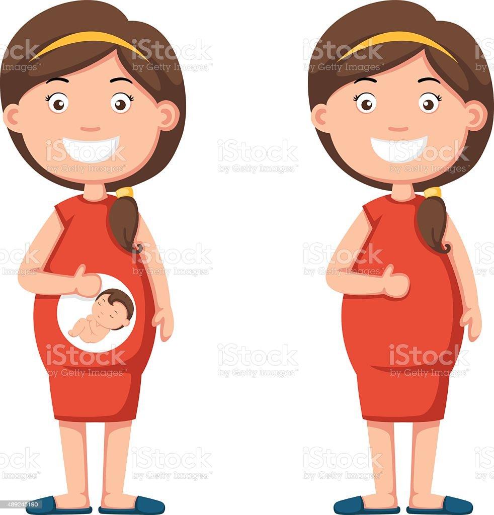 pregnant woman holding her tummy vector art illustration