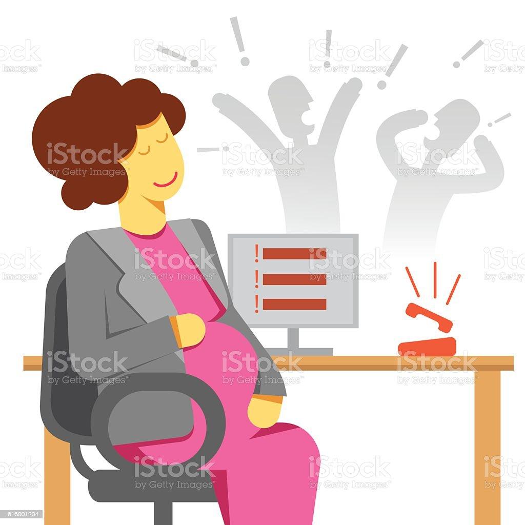 pregnant woman office stress vector art illustration