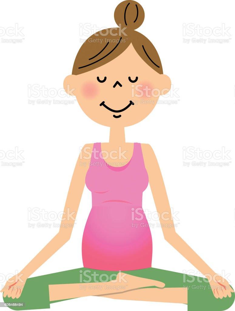 Pregnant women do yoga vector art illustration