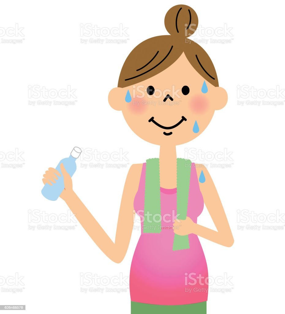 Pregnant women to hydration vector art illustration