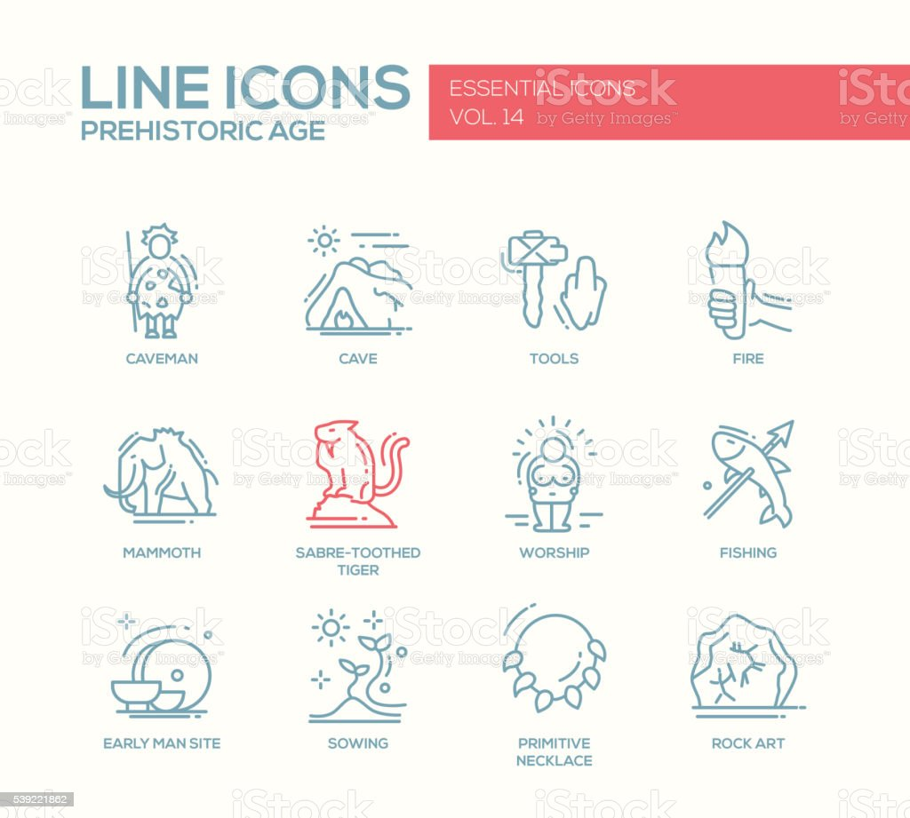 Prehistoric age- line design icons set vector art illustration