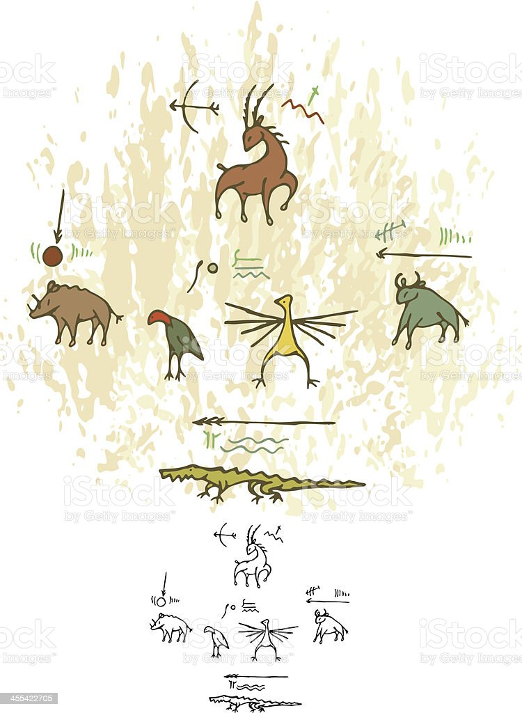 Prehistoric Cave Painting Animals royalty-free stock vector art