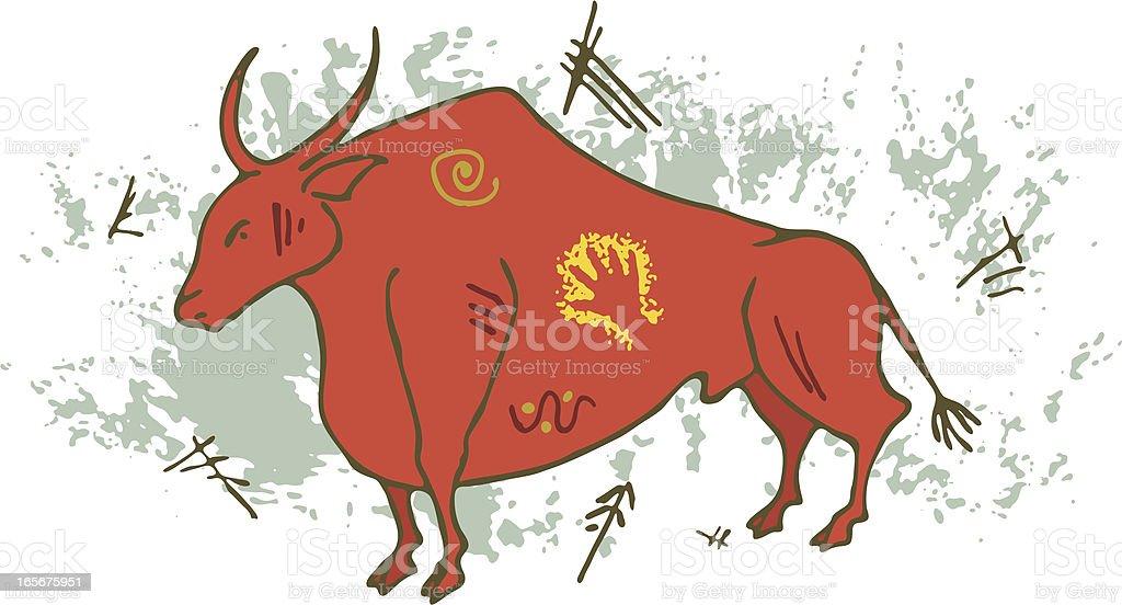 Prehistoric Cave Painting Auroch Bull vector art illustration