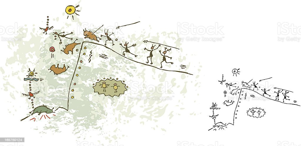 Prehistoric Cave Painting Buffallo Hunt vector art illustration