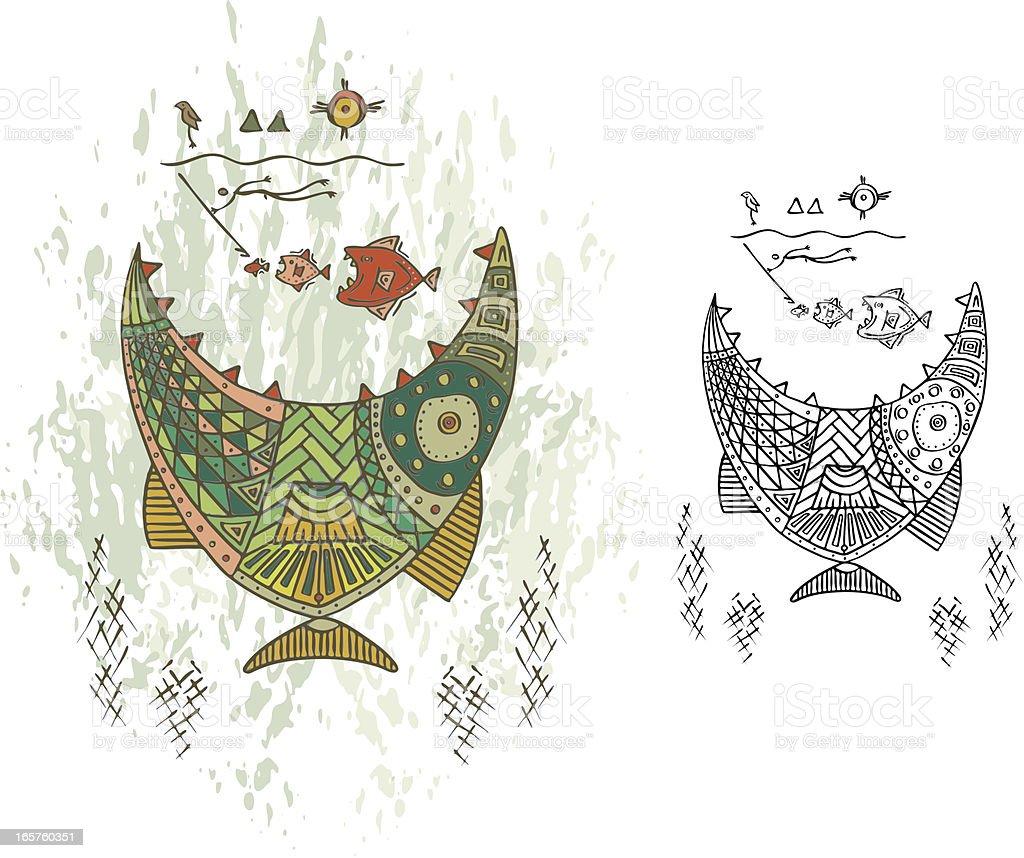 Prehistoric Cave Painting Deep Sea Monster vector art illustration