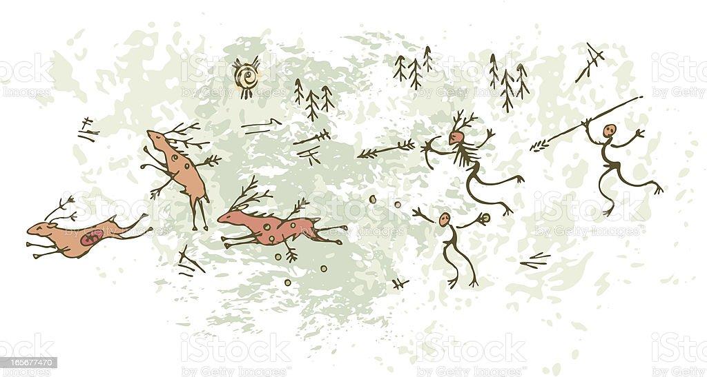 Prehistoric Cave Painting Deerhunt vector art illustration