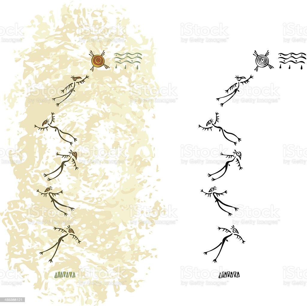 Prehistoric Cave Painting Flying Shaman royalty-free stock vector art