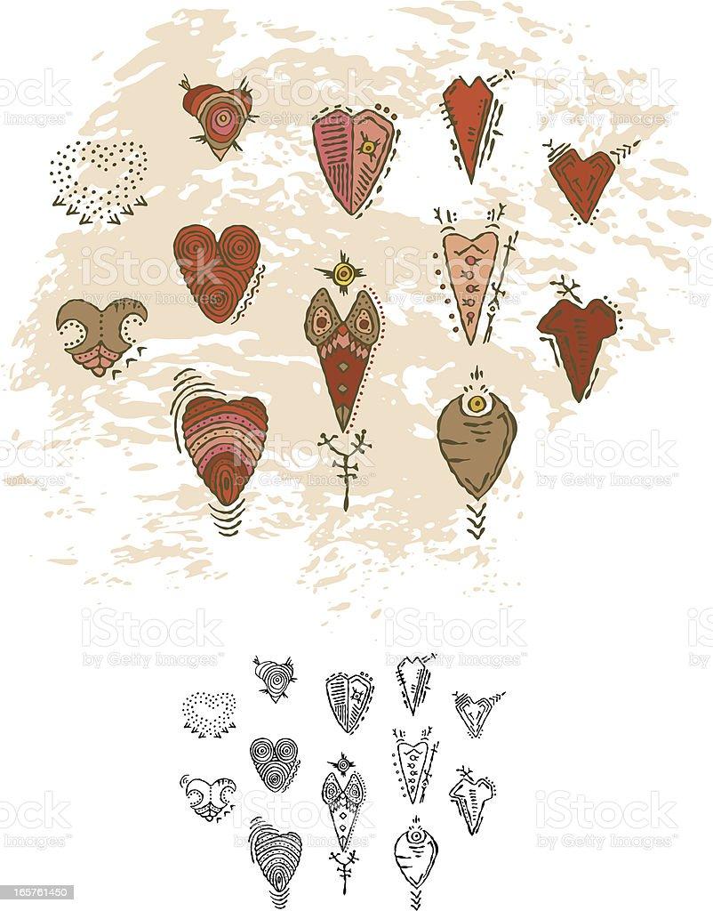 Prehistoric Cave Painting Hearts vector art illustration