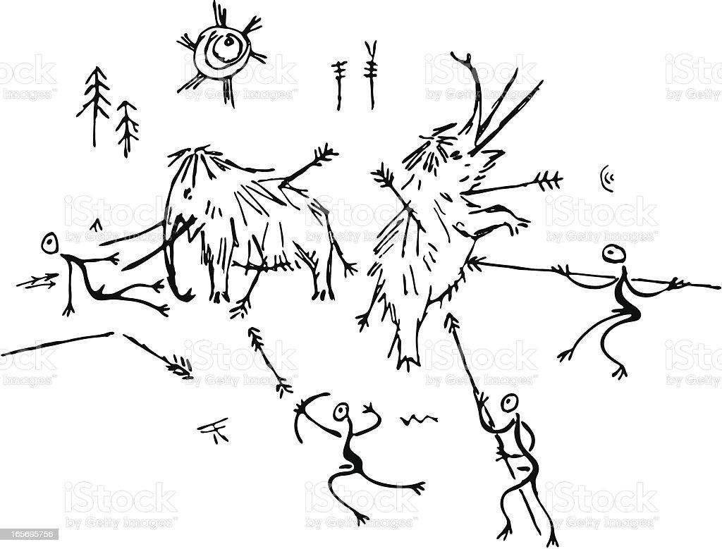 Prehistoric Cave Painting Mammoth Hunt vector art illustration