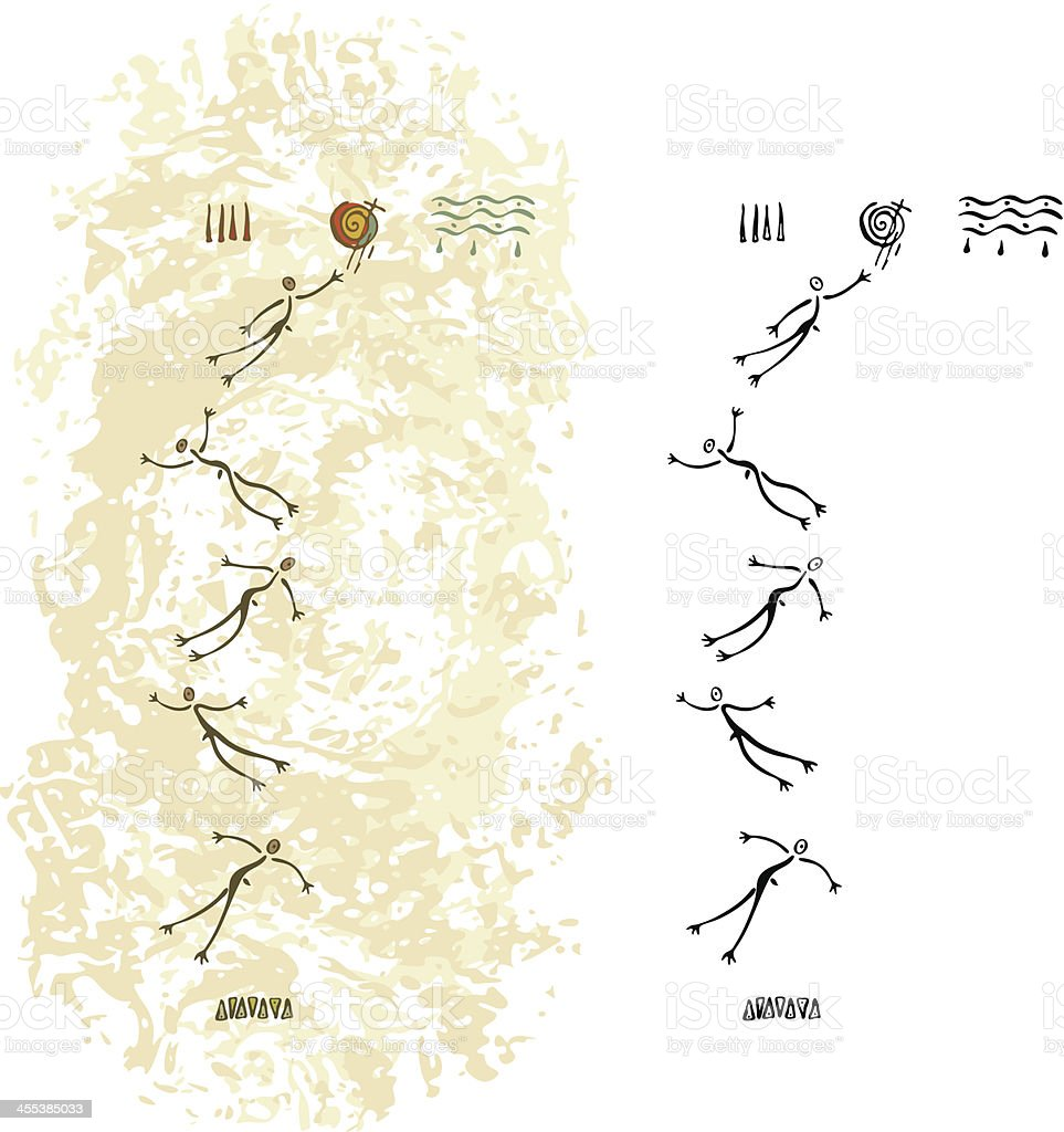 Prehistoric Cave Painting Men Flying vector art illustration