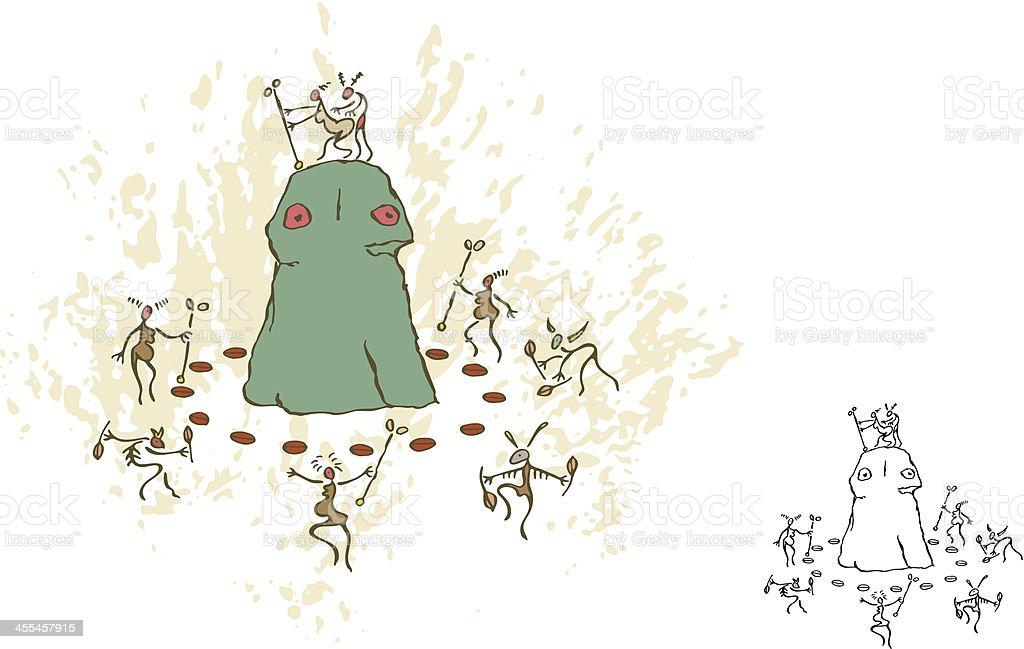 Prehistoric Cave Painting Ritual Fertility Dance royalty-free stock vector art