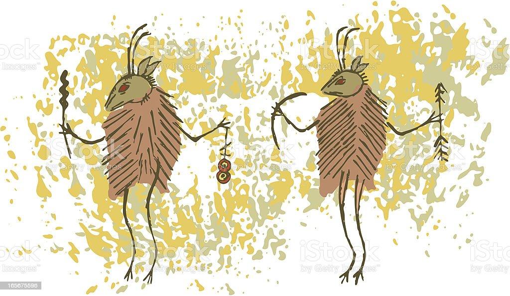 Prehistoric Cave Painting Shaman Deermen royalty-free stock vector art