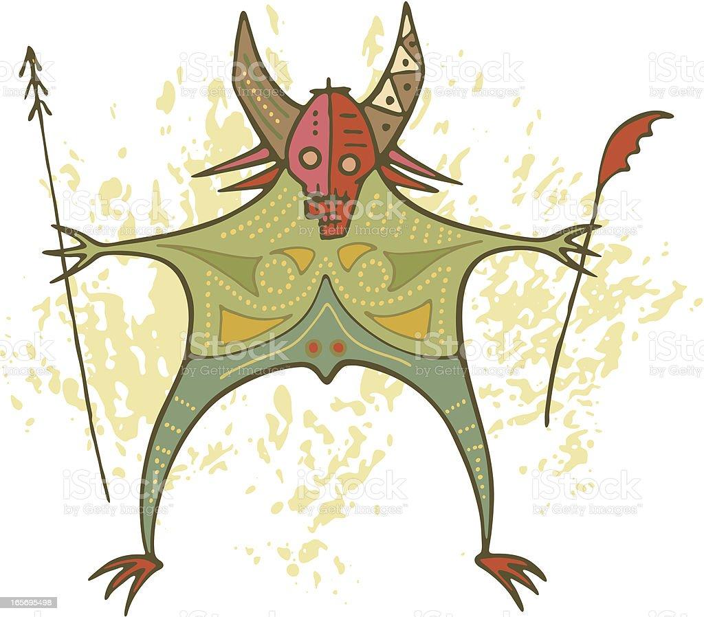Prehistoric Cave Painting Shaman Demon vector art illustration