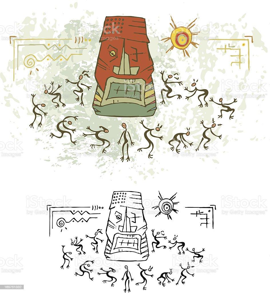 Prehistoric Cave Painting Totem Ritual Dance vector art illustration