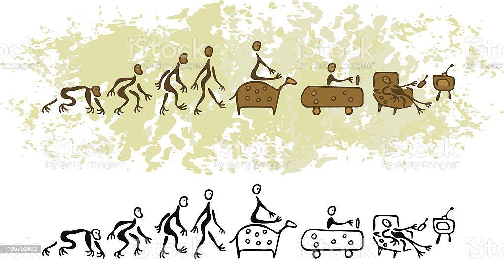 Prehistoric Cave Painting Vision Future Evolution of Man vector art illustration