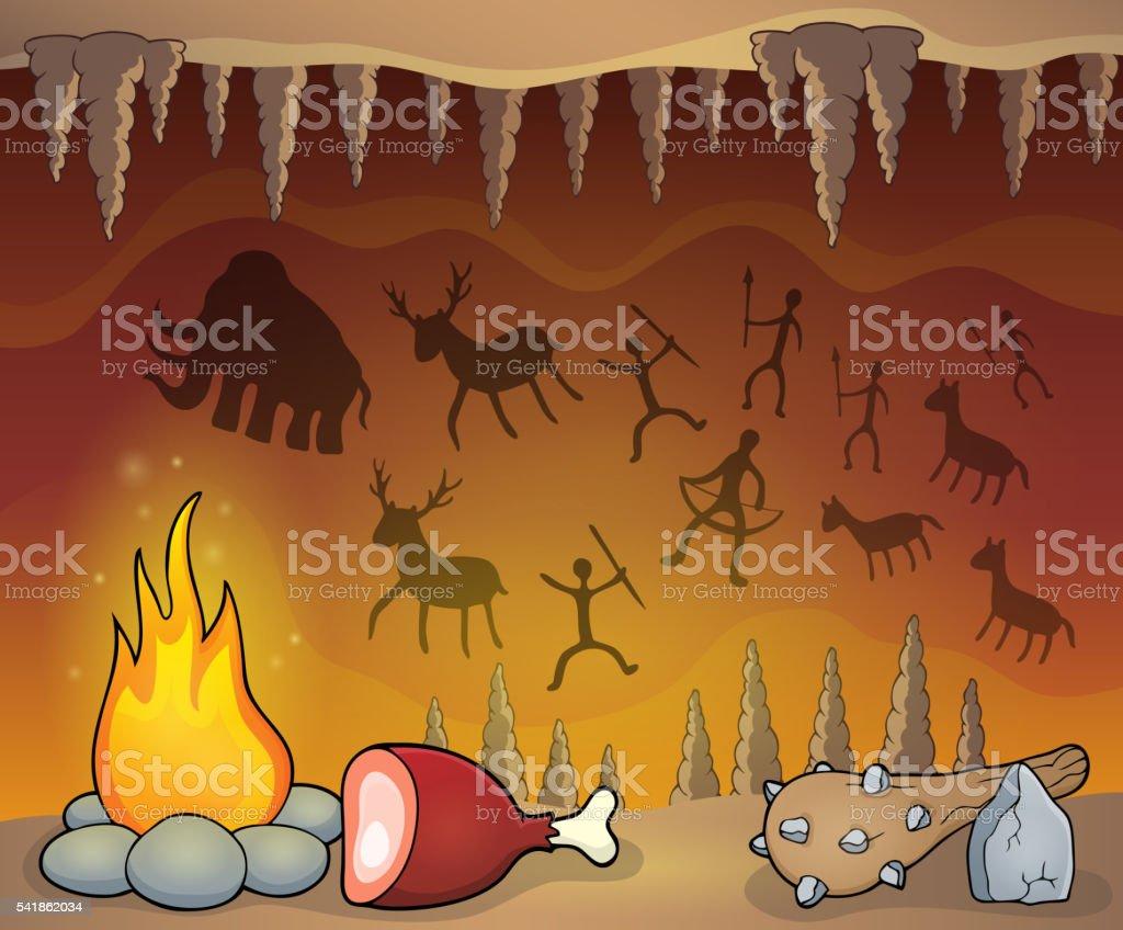 Prehistoric cave thematic image 1 vector art illustration
