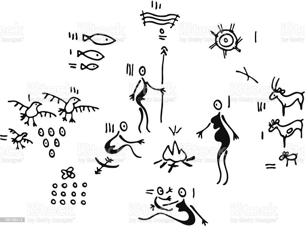 Prehistoric Family Life vector art illustration