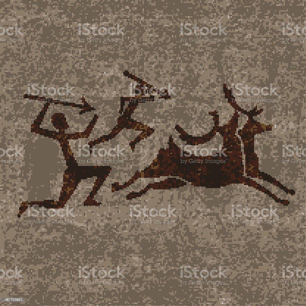 Prehistoric hunting vector art illustration