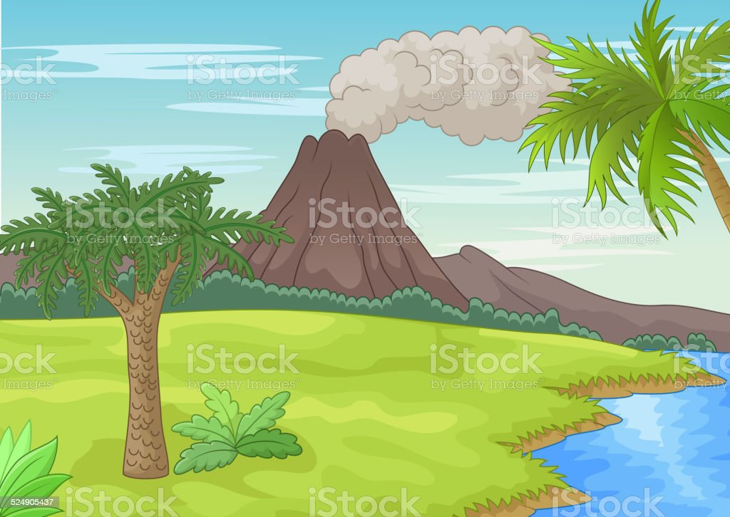 Prehistoric landscape cartoon vector art illustration