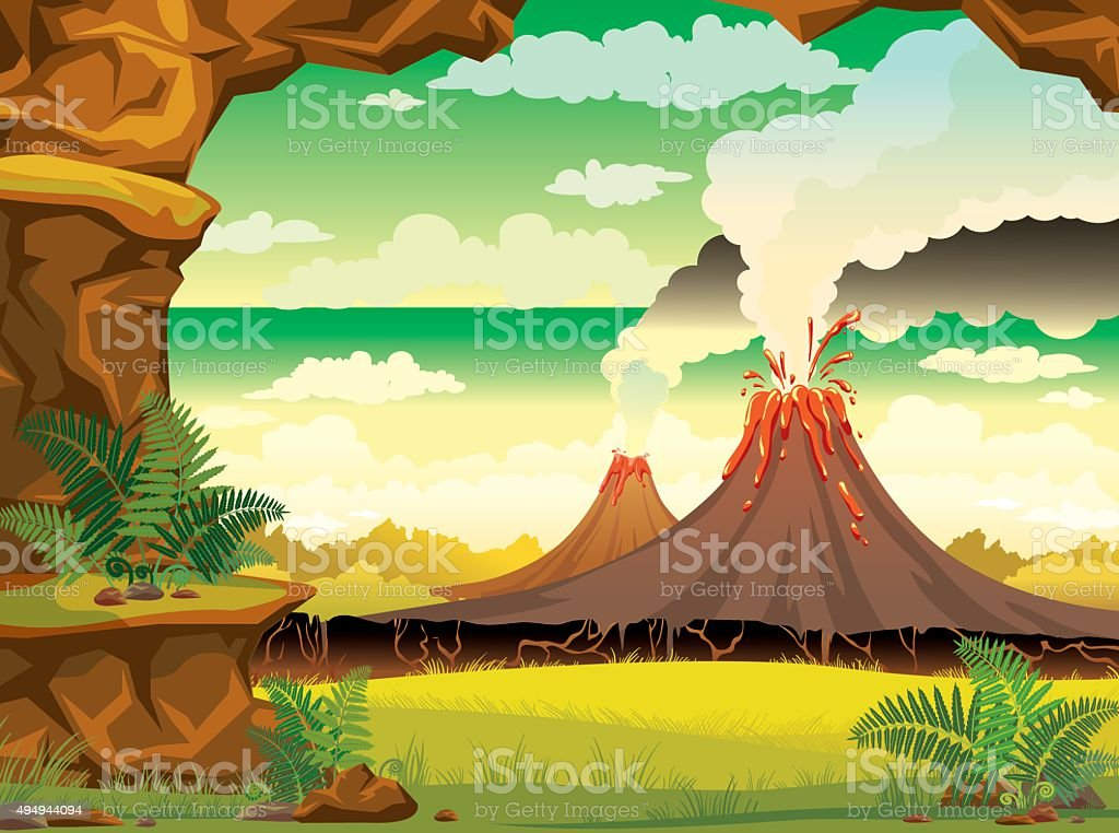 Prehistoric landscape - smoky volcanoes and cave. vector art illustration