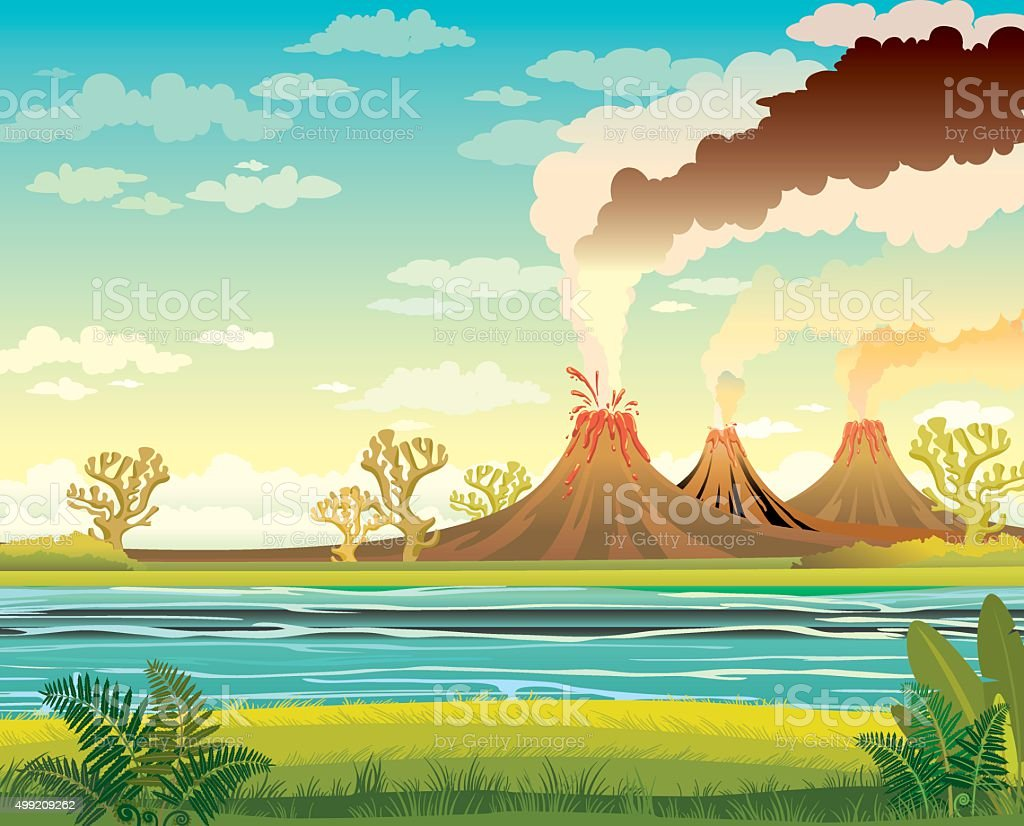 Prehistoric landscape with lake and volcanoes. vector art illustration