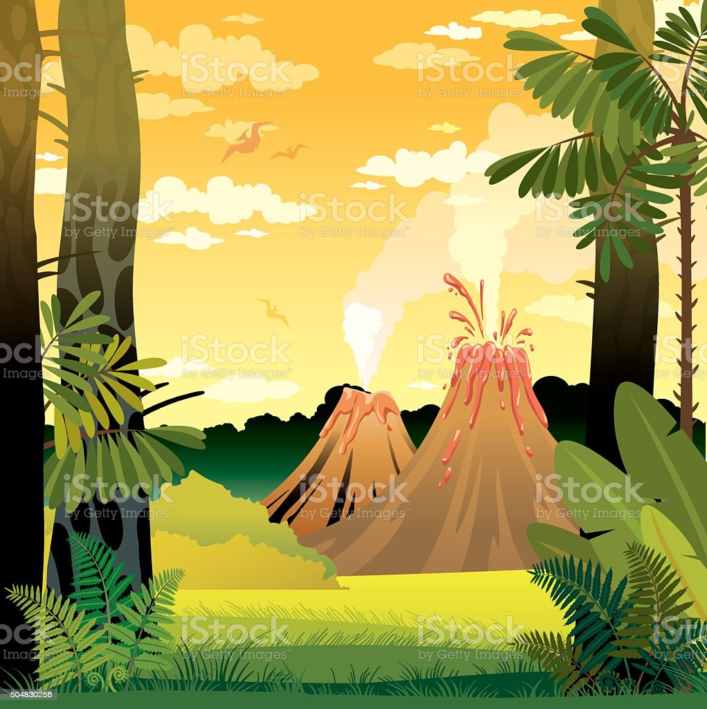 Prehistoric landscape with volcano and trees. vector art illustration