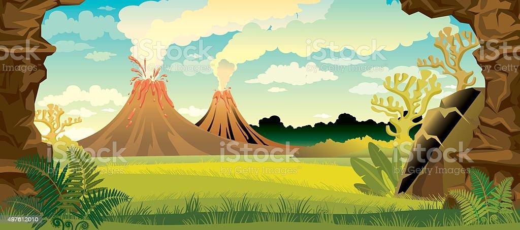 Prehistoric landscape with volcanoes. vector art illustration