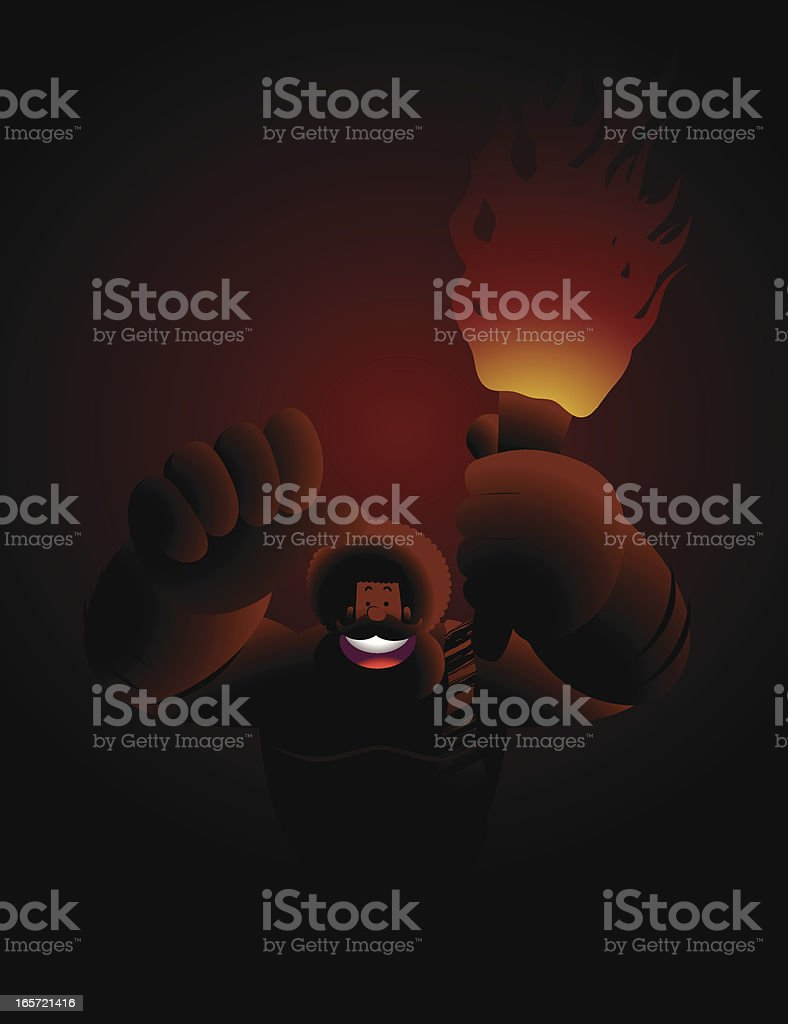 Prehistoric Man Holding A Flaming Torch, He found Something vector art illustration