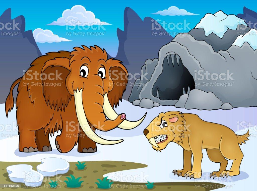 Prehistoric theme image 1 vector art illustration