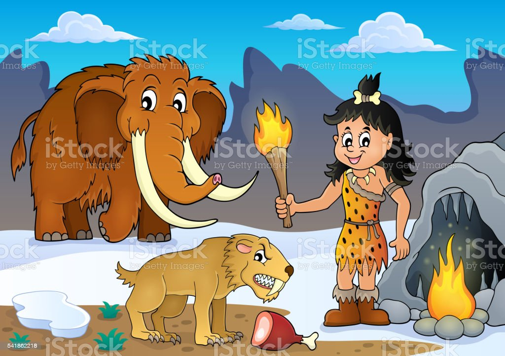 Prehistoric theme image 3 vector art illustration