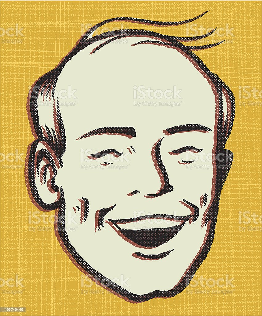 premature retro balding vector art illustration