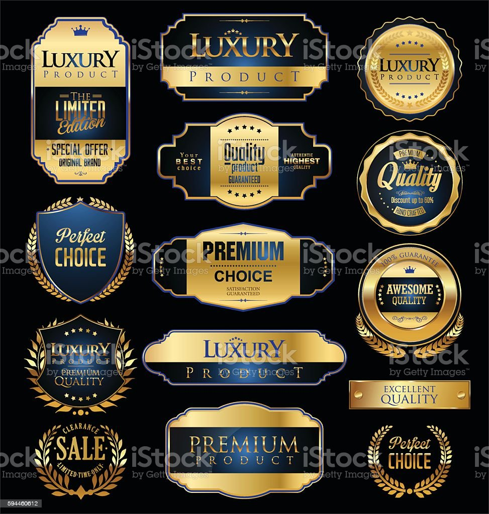Premium and luxury golden retro badges and labels collection vector art illustration