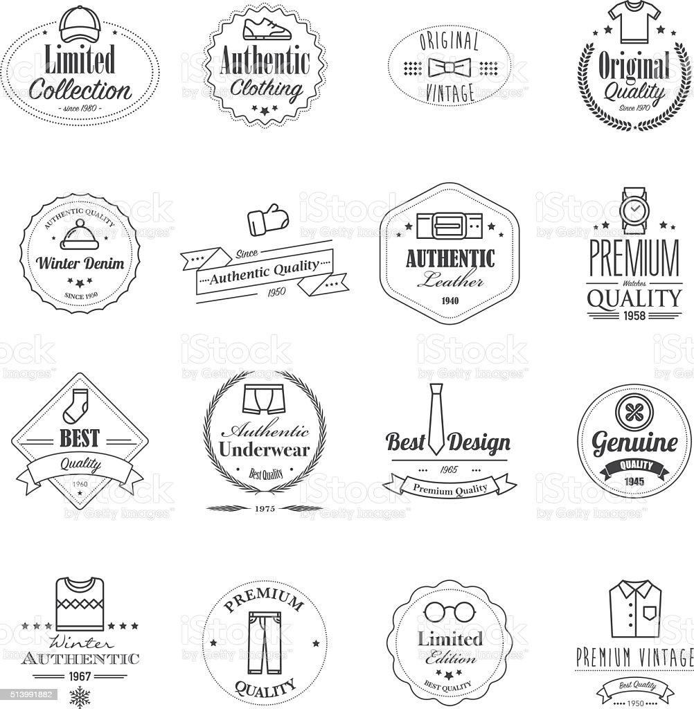 Premium clothing badges with icons vector art illustration