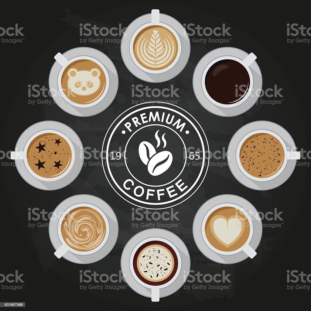 Premium Coffee cups vector art illustration