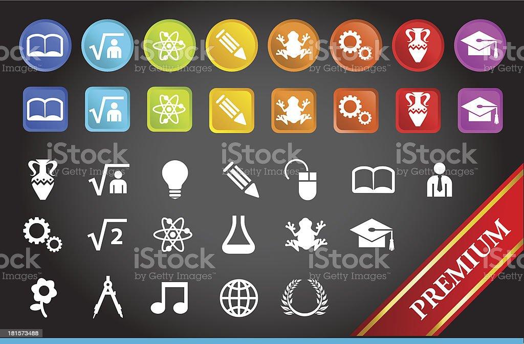 Premium Education Icons. royalty-free stock vector art