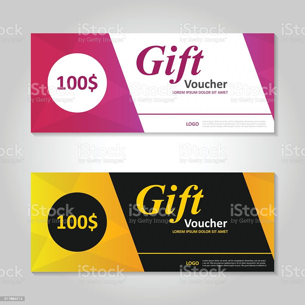 premium elegance pink gold gift voucher template layout design set 1 credit