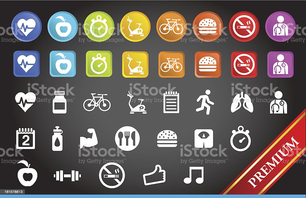 Premium Fitness Icons. royalty-free stock vector art