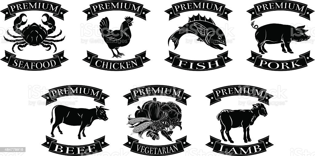 Premium food groups set vector art illustration