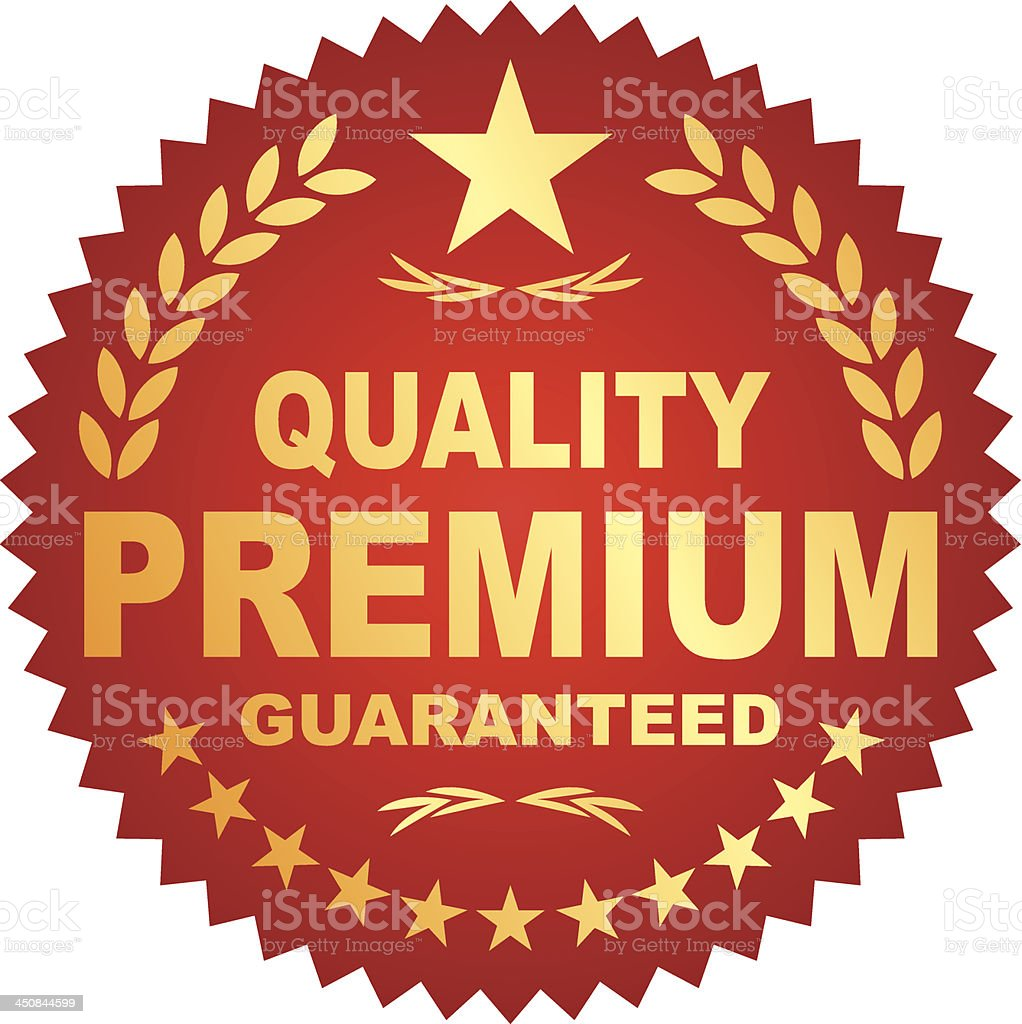Premium guaranteed quality illustrated badge in red and gold royalty-free stock vector art