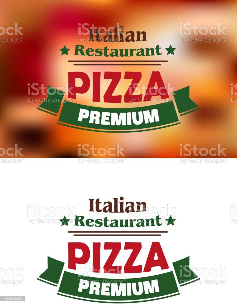 Premium italian pizza labe vector art illustration
