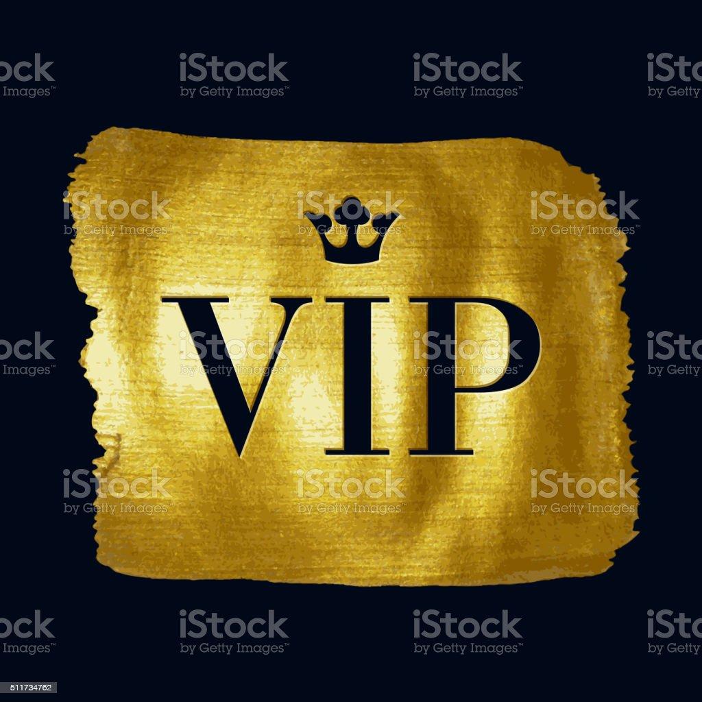 VIP premium letters on golden paint brush stroke illustration vector art illustration
