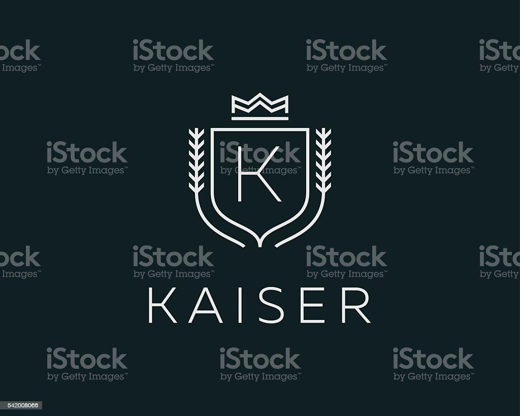 Premium monogram letter K initials ornate signature logotype. Elegant crest vector art illustration