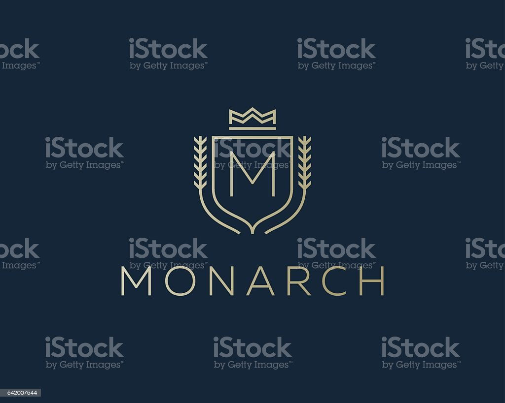 Premium monogram letter M initials ornate signature logotype. Elegant crest vector art illustration