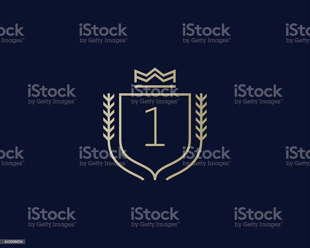 Premium number 1 ornate logotype. Elegant numeral crest logo icon vector art illustration