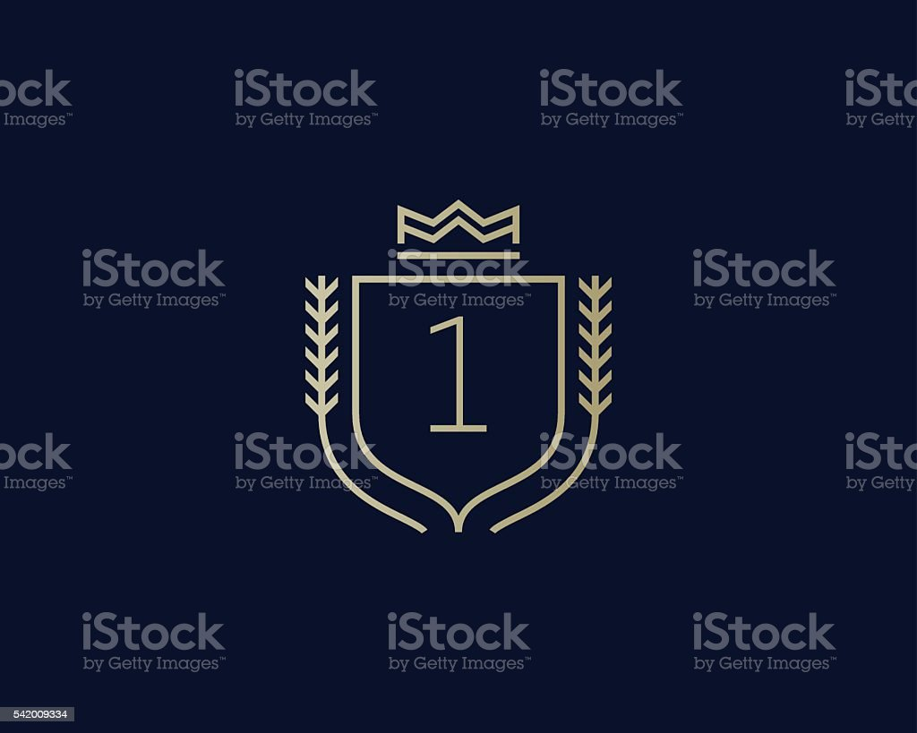 Premium number 1 ornate logotype. Elegant numeral crest logo icon vector art illustration