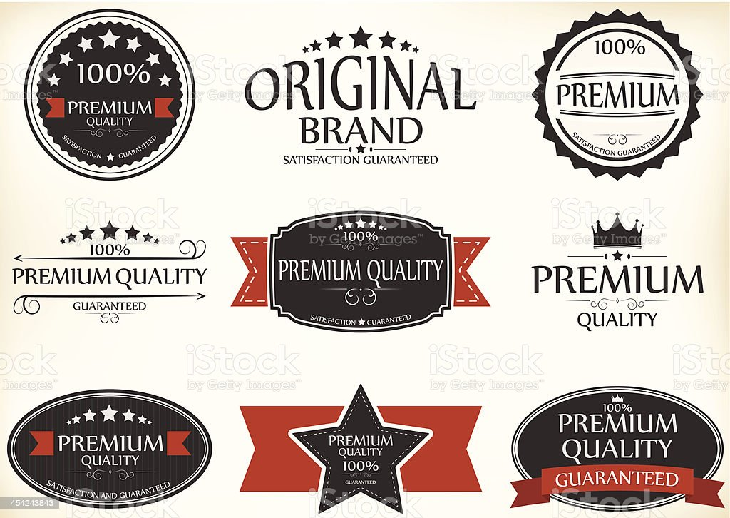 Premium Quality and Guarantee Labels with retro vintage style royalty-free stock vector art